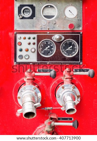 dirt old fire truck and close up equipments. - stock photo