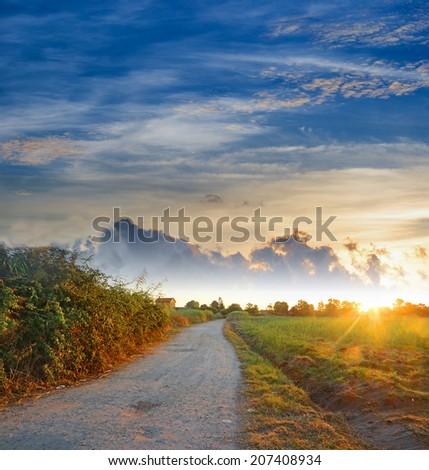 dirt road at dawn in Alghero, Sardinia - stock photo