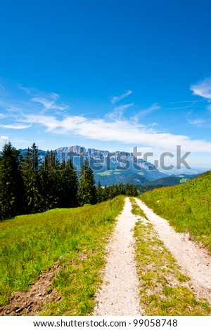 Dirt Road in the Bavarian Alps, Germany - stock photo