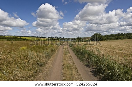 Dirt road in the field and blue sky with clouds