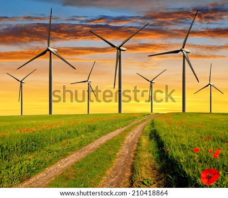 Dirt road in the wheat fields with wind turbines in the sunset - stock photo