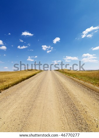 Dirt road lined with grasses in a rural countryside, with blue sky and clouds overhead.  Vertical shot. - stock photo