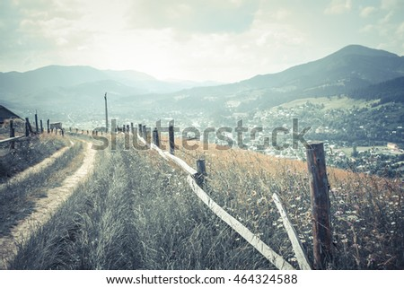 dirt road on a background of mountains Carpathians, filter