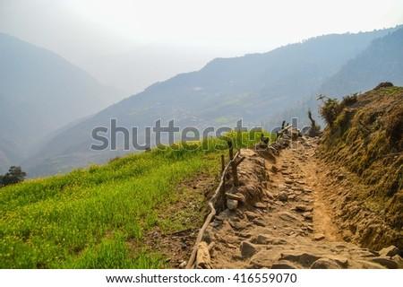 Dirt road on the Everest Base Camp Trek, Nepal - stock photo