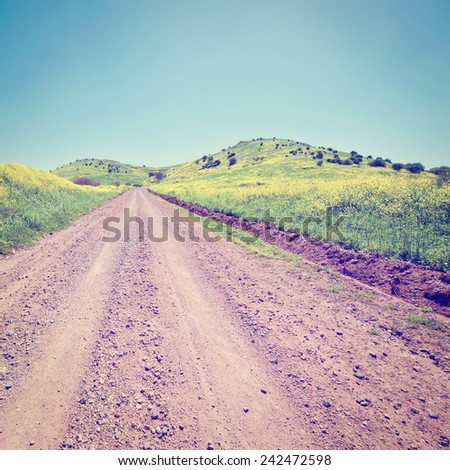 Dirt Road on the Golan Heights in  Israel, Instagram Effect - stock photo
