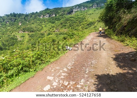 dirt road on the Niubei Mountain