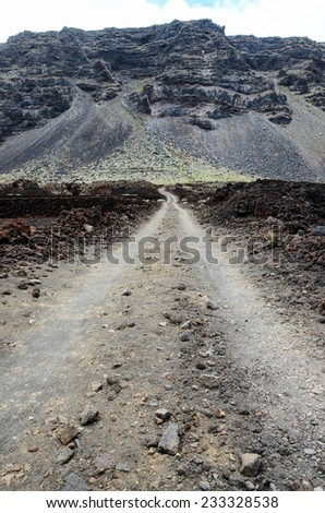 Dirt Road through the Desert in Tenerife Island Spain