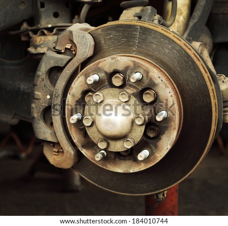 Dirt rusted disc brake on car with caliper