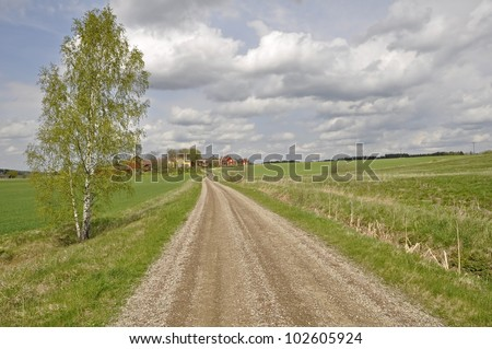 Dirt track trough agricultural land in Sweden at spring - stock photo