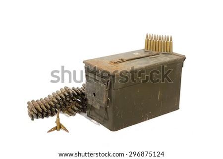 Dirty ammunition box with ammunition on the white background isolated. - stock photo