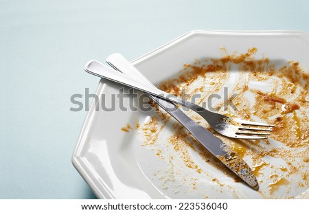 dirty and empty dishes - stock photo
