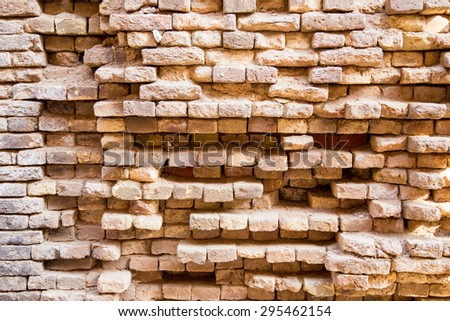 Dirty and weathered red brick wall background texture. grunge brick wall. - stock photo