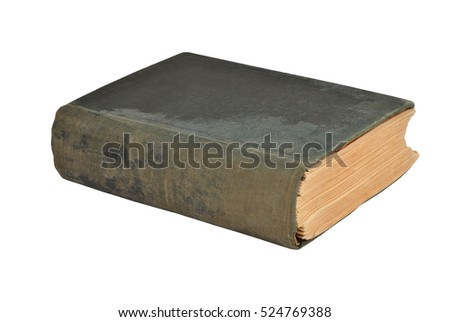 Dirty antique book, isolated on white background