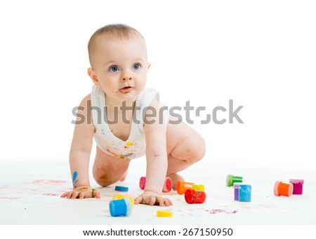 dirty baby painting by hands on white background - stock photo