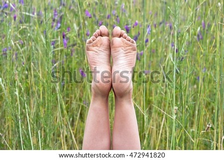 dirty bare feet in country wildflowers