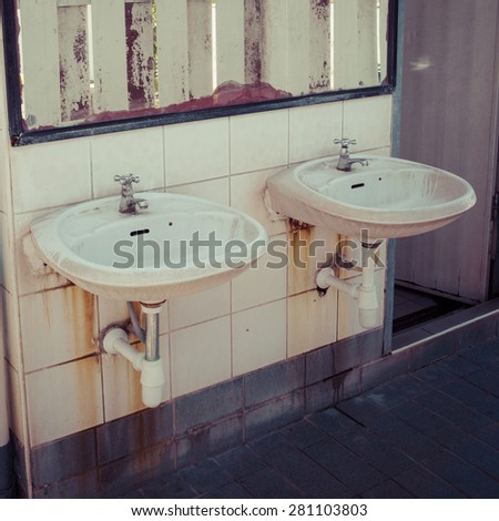 Dirty Basin In Public Toilets Process Color