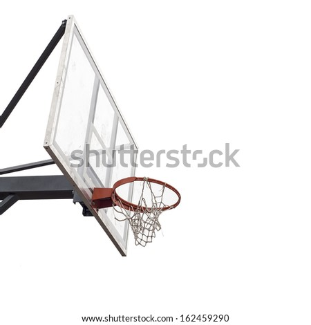 dirty basketball board, torn net isolated on white background - stock photo