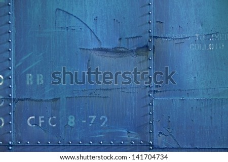 Dirty Blue Metal Wall Photo Background. - stock photo