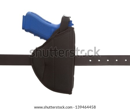 Dirty blue training gun isolated on white, law enforcement - stock photo