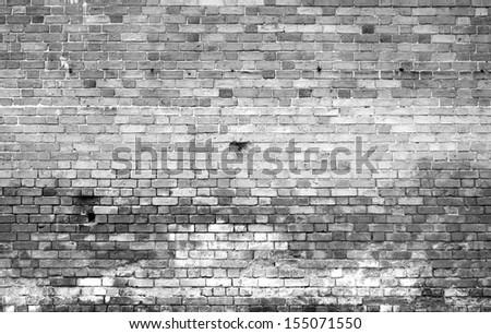 dirty brick wall, grungy grey texture - stock photo