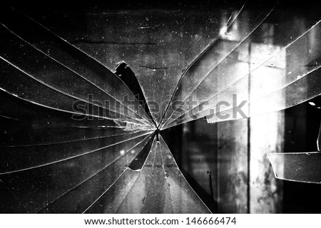 dirty broken window - stock photo