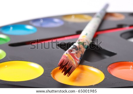 Dirty brushes with paints - stock photo