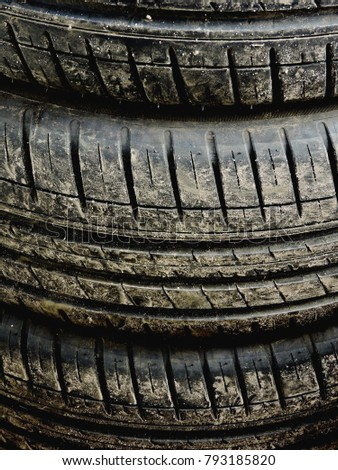 Dirty car tires as a background