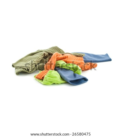 Dirty child's clothing over white background - stock photo