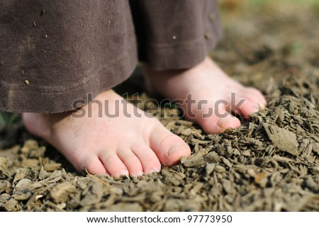 Dirty child's feet on a bed of mulch.