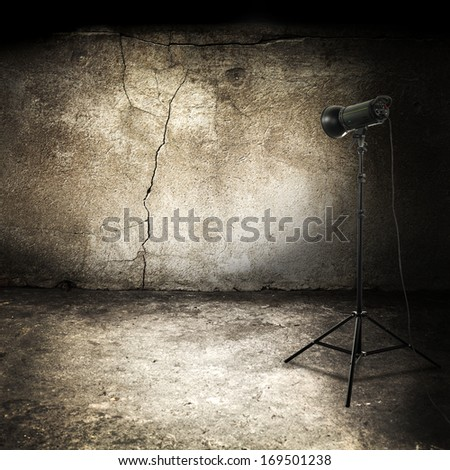 dirty dark interior and lamp of black color  - stock photo
