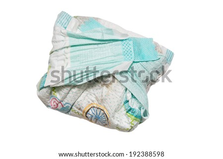 dirty diapers, isolated on white - stock photo