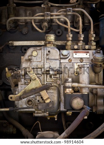 Dirty diesel engine in tractor