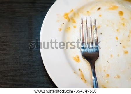 Dirty dish on background,top view - stock photo