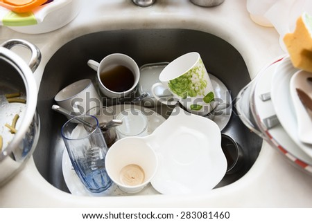 Dirty dishes - stock photo