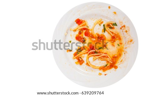 dirty dishes. sauce smeared on a plate.. top view. isolated on white