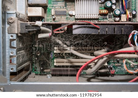Dirty dusty computer - stock photo