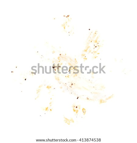 Dirty fat surface with cutlet left overs over white background