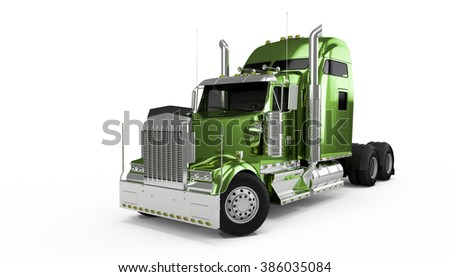 Dirty green american truck isolated on white background - stock photo