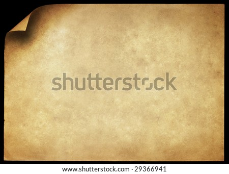 Dirty grunge paper page with curl isolated on black. - stock photo