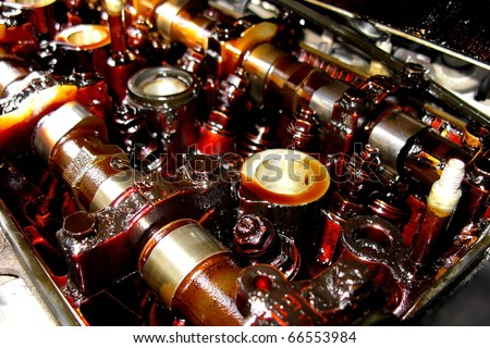dirty motor engine close up - stock photo