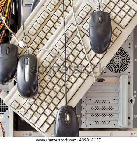 dirty old computers, keyboard, mouse for electronic recycling