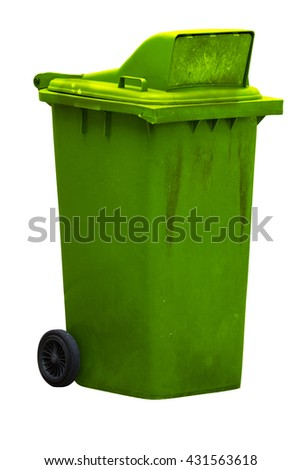 Dirty old light green bin with wheel isolated on white