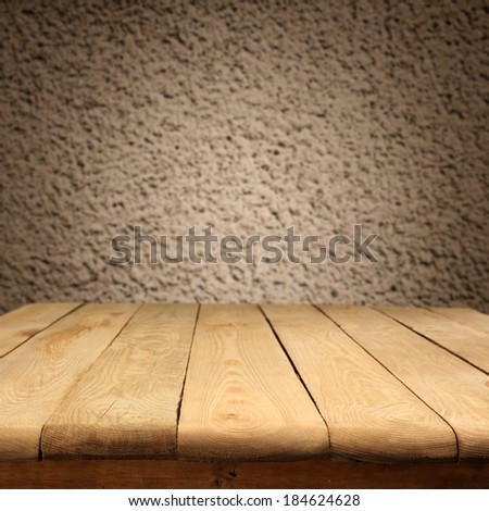 dirty old wall and desk  - stock photo