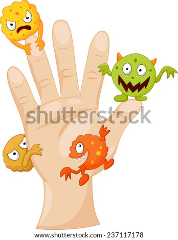 Dirty palm with cartoon germs - stock photo