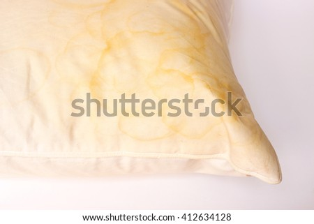 Dirty pillow from saliva stain - stock photo