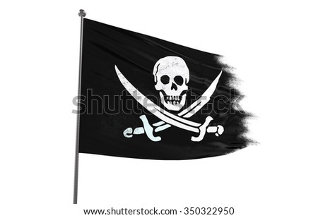 Dirty Pirate flag waving on white background
