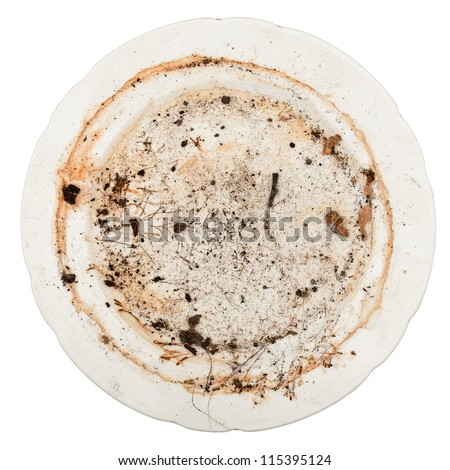 Dirty plate isolated on white background - stock photo