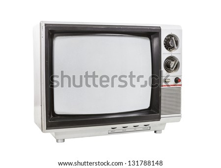 Dirty portable television isolated with and clipping path. - stock photo