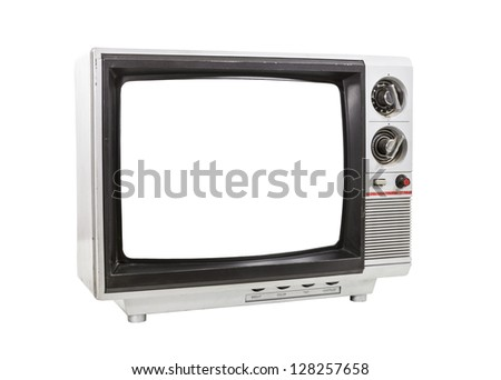 Dirty portable television isolated with cut out screen and clipping path. - stock photo