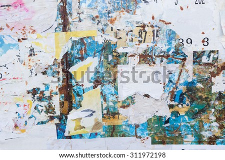 dirty poster wall - stock photo